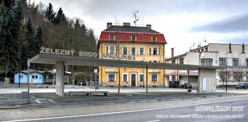 Návrh autobusové zastávky zpracovávaný v rámci praxe v JPA.